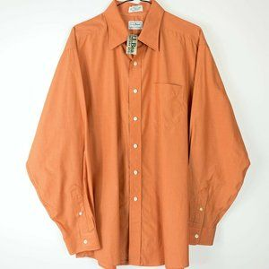 NWT LL Bean Orange Button Up Shirt Mens Sz 17-35
